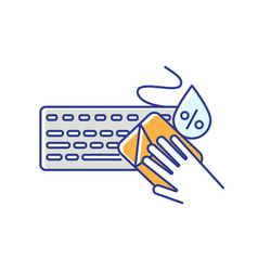 Keyboard cleaning rgb color icon vector