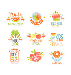 kids menu natural food logo original colorful vector image