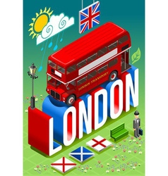 London Double Decker Postcard vector