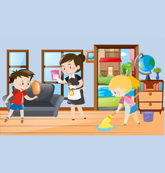 Maid and kids cleaning the room vector