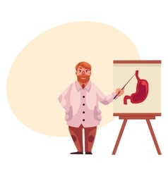 Male gastroenterologist in lab coat pointing to vector