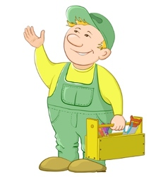 Man worker with a toolbox vector