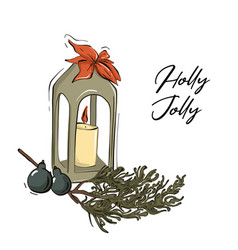 merry christmas traditional art with candle tree vector image