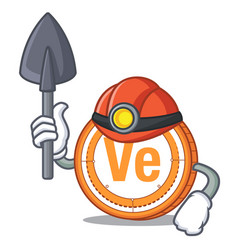 Miner veritaseum coin mascot cartoon vector