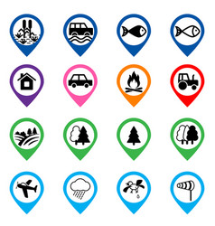 Offroad event and camping icons set vector
