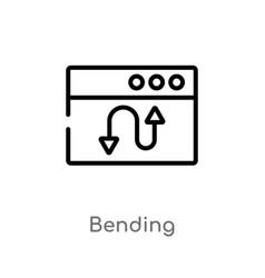 Outline bending icon isolated black simple line vector