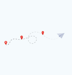 paper airplane is in a dotted line tourism and vector image
