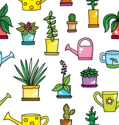 pattern with flowers and flowering cans vector image