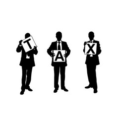 people holding tax panels vector image