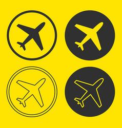plane icon shape button set vector image