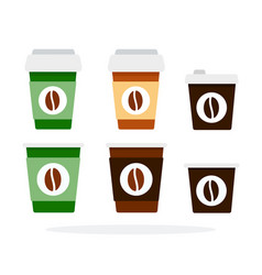 Plastic disposable cups for coffee flat isolated vector