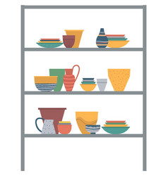 pots and plates with cups standing on shelves vector image