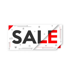 Red black and white sale banner layout price tag vector