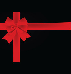 Red bow on black background vector