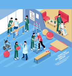 rehabilitation center nurses isometric poster vector image