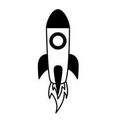 rocket launch on white background vector image
