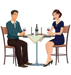 Romantic dinner in a cafe for two vector