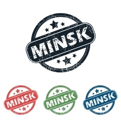 Round Minsk city stamp set vector