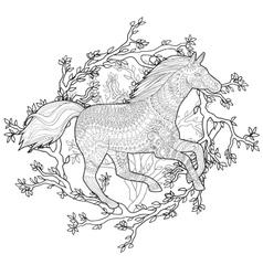 Running horse in zentangle style vector