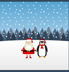 santa claus and a penguin in a christmas forest vector image