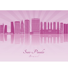 Sao Paulo V2 skyline in purple vector image