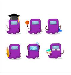 School student ghost among us purple cartoon vector