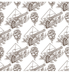 seamless pattern from outline drawings of a vector image