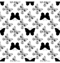 Seamless pattern of graphic butterflies vector