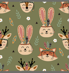 seamless pattern with tribal deer fox and hare vector image