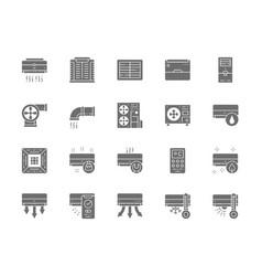 Set air conditioning grey icons remote control vector