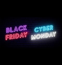set black friday and cyber monday neon designs vector image