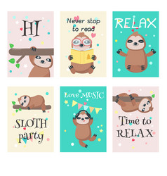 Set cards with cute sloths and quotes vector