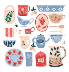 set ceramic kitchen utensils in flat cartoon vector image
