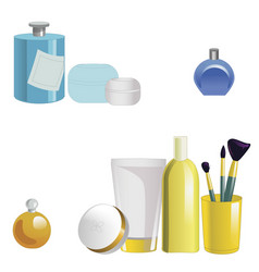 set of face care products isolated on white vector image vector image