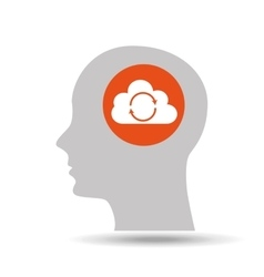 Silhouette head cloud arrow icon graphic vector