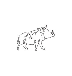 Single continuous line drawing wild common vector