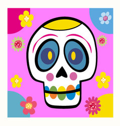 Skull with flowers cartoon vector