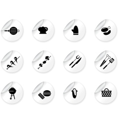 Stickers with grilling icons vector