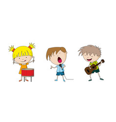Three kids making music vector