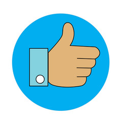 thumb up like with blue circle on white background vector image vector image