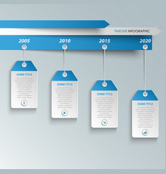 time line info graphic with hanging labels in vector image