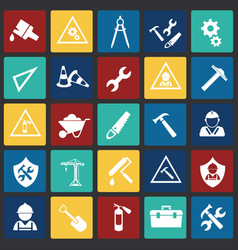 tools and construction set on color squares flat vector image
