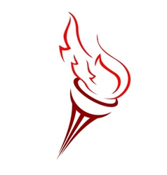 Torch with a burning flame vector image
