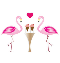 two flamingos in love eating ice cream vector image