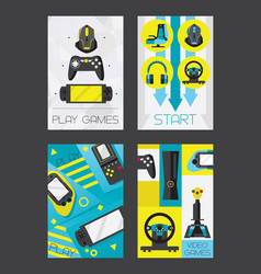 video games and gamers certical cards design vector image