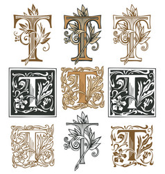Vintage initial letter t with baroque decorations vector