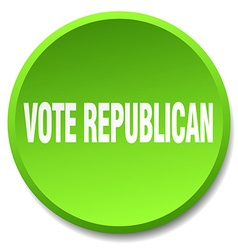 Vote republican green round flat isolated push vector