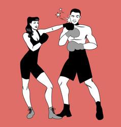 war of the sexes beautiful girl boxer hitting vector image