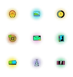 Web communication icons set pop-art style vector