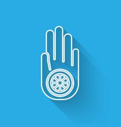 white line symbol jainism or jain dharma icon vector image